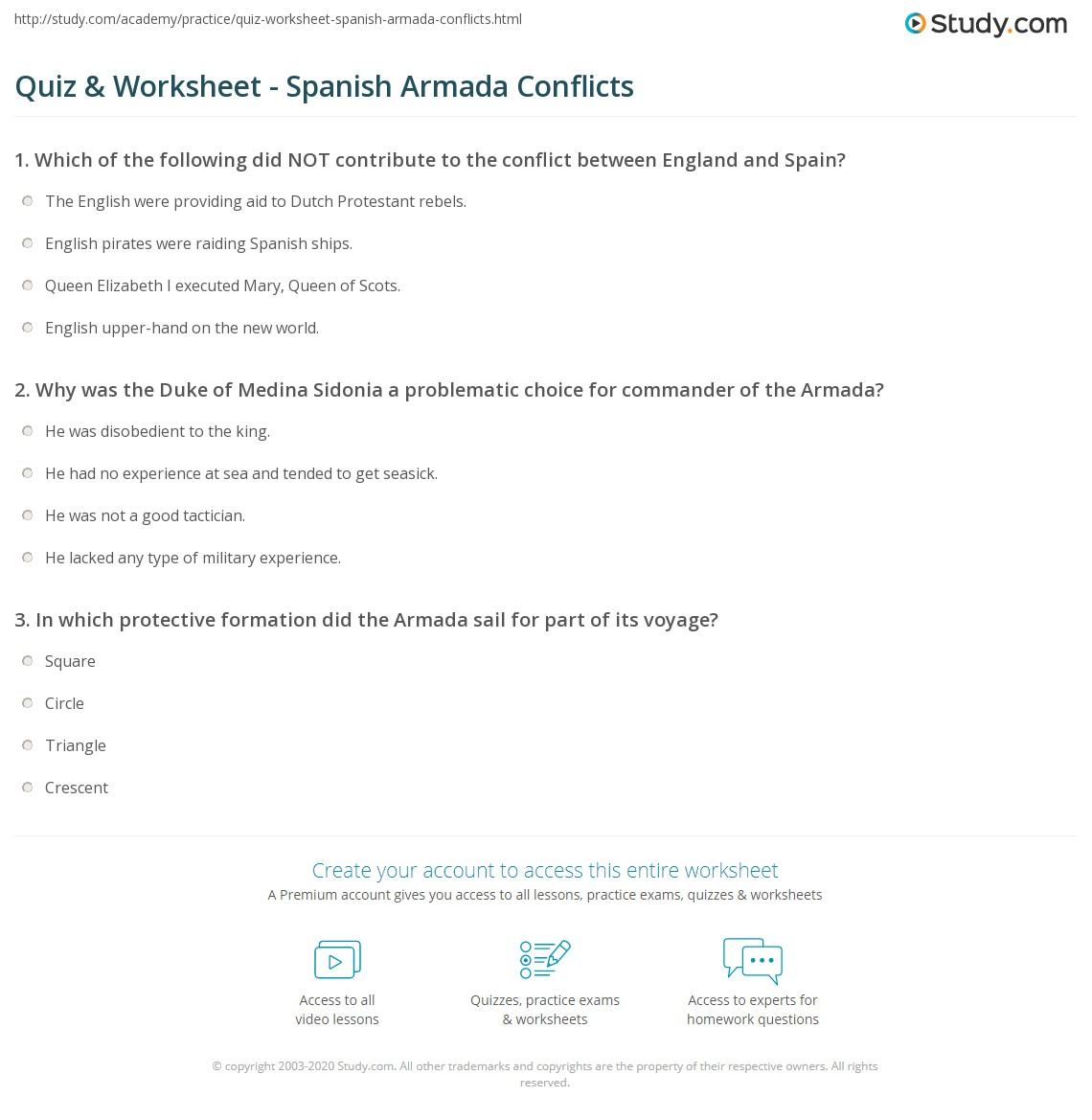 quiz worksheet spanish armada conflicts. Black Bedroom Furniture Sets. Home Design Ideas