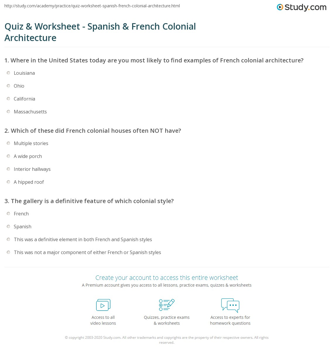 Print Characteristics Of Colonial Architecture Spanish French Worksheet