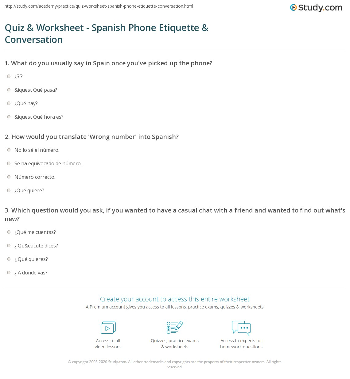 Quiz & Worksheet - Spanish Phone Etiquette & Conversation