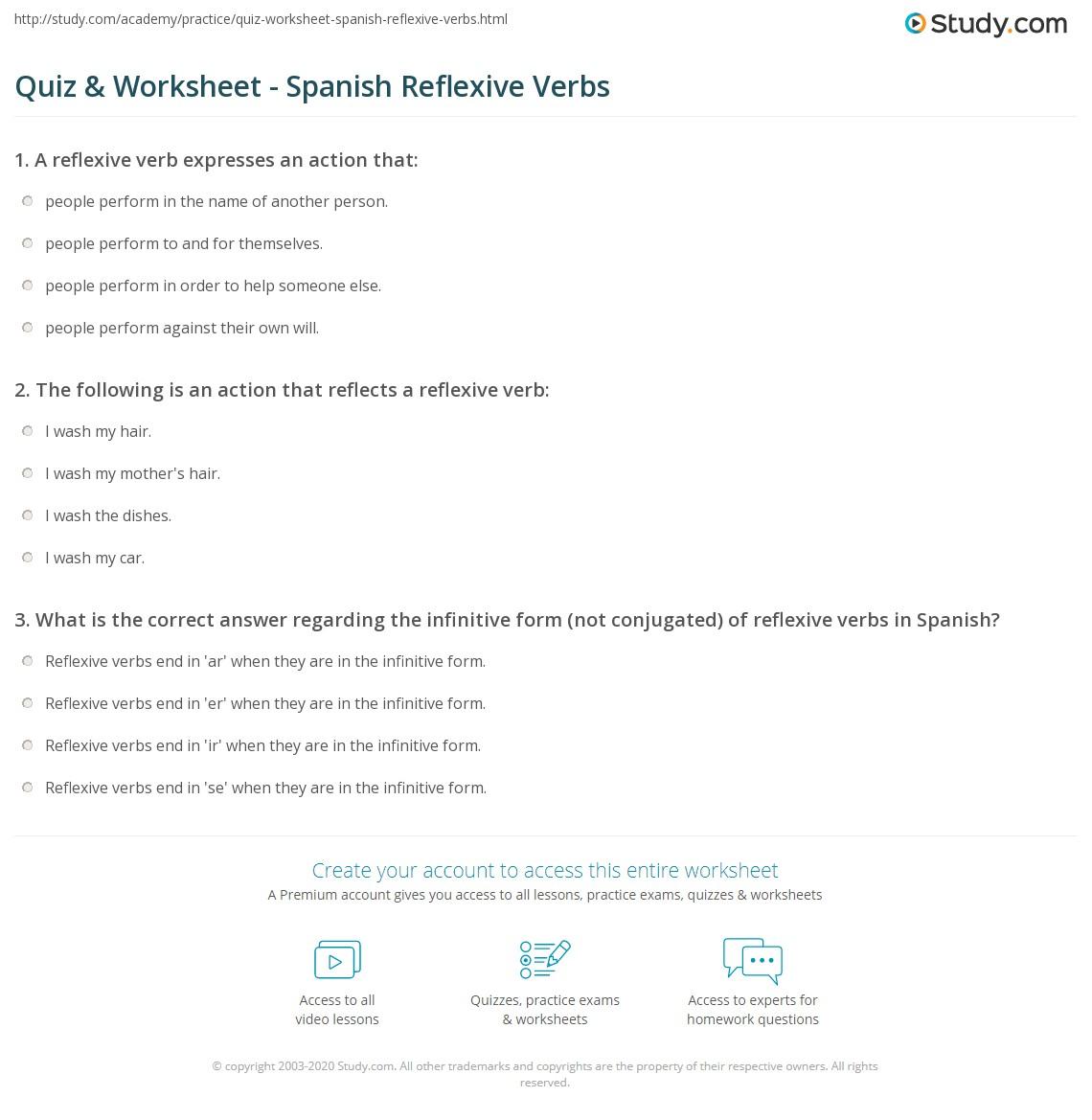 Quiz & Worksheet - Spanish Reflexive Verbs | Study.com
