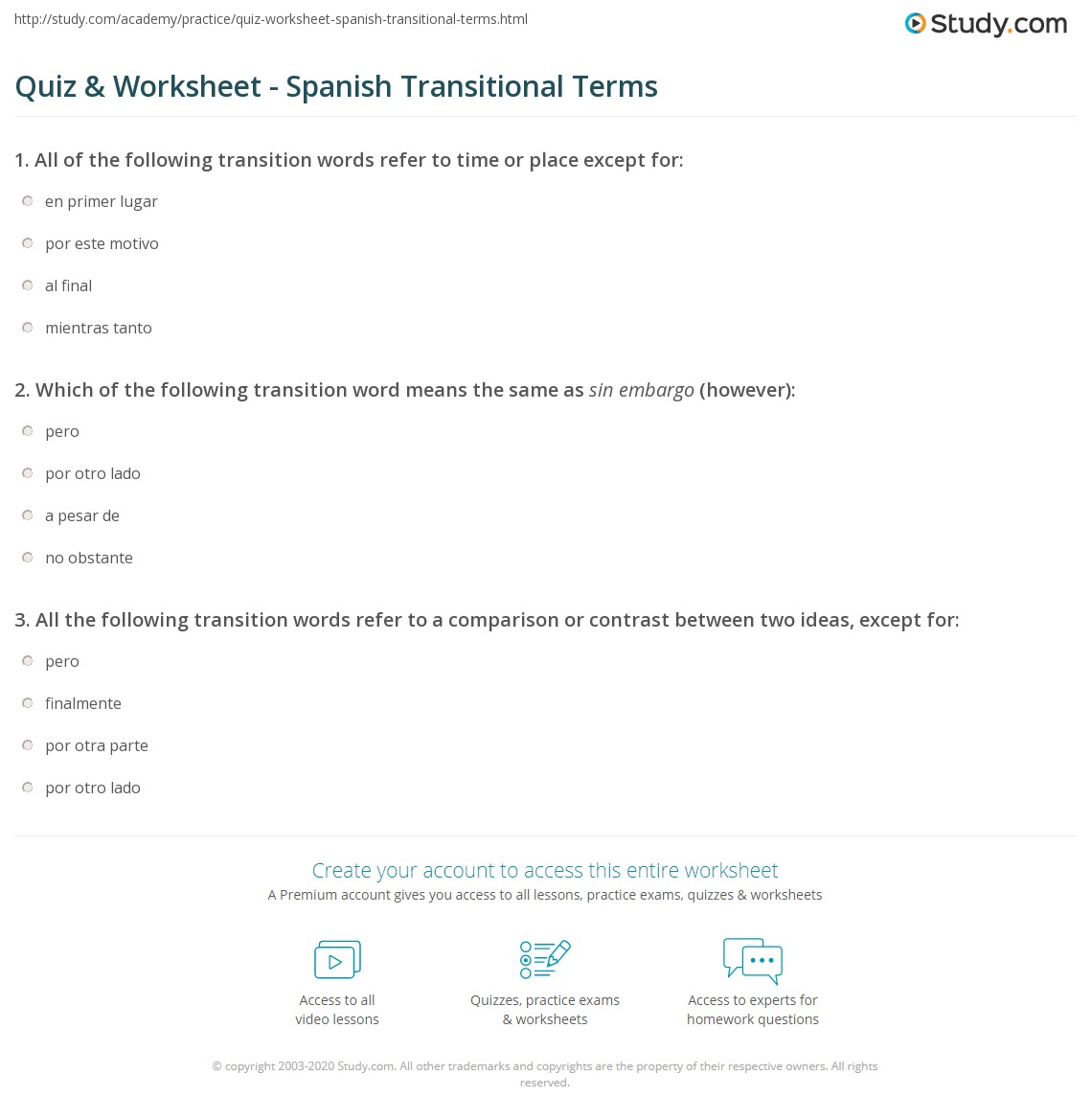 worksheet Transition Words Worksheet quiz worksheet spanish transitional terms study com print transition words worksheet