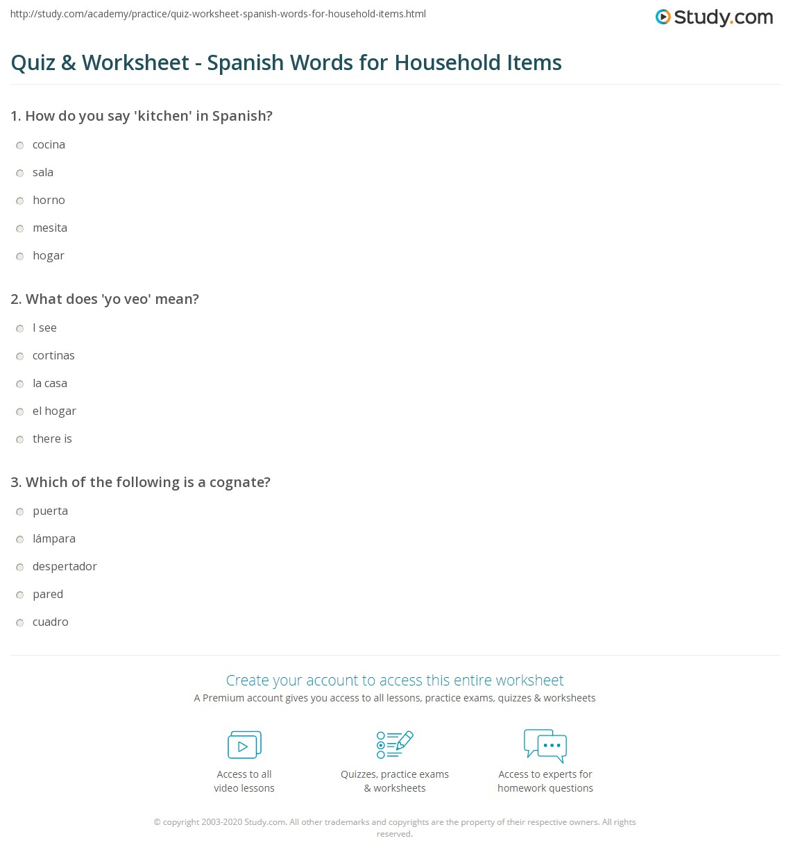 Quiz & Worksheet - Spanish Words for Household Items | Study.com