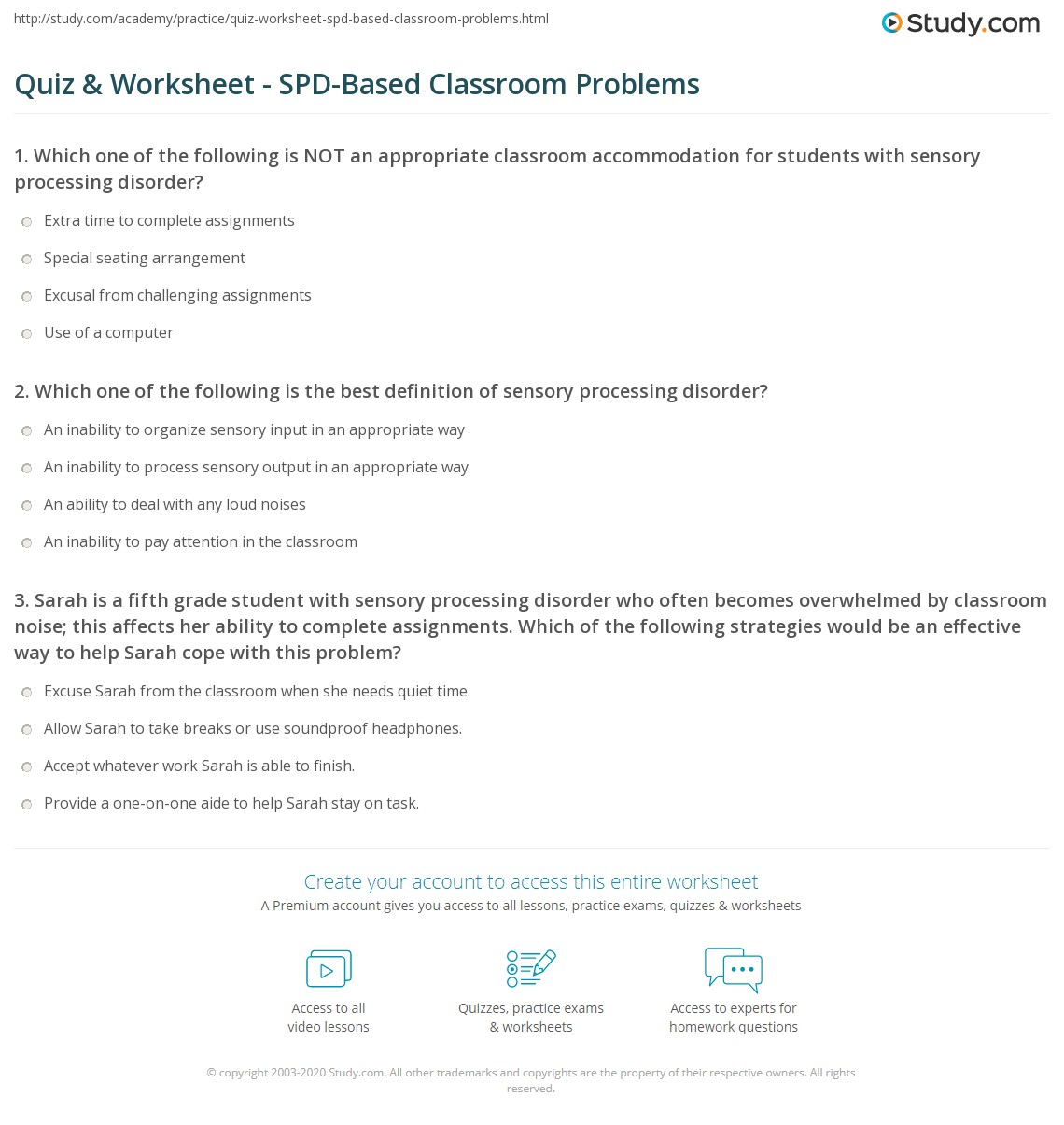 How Sensory Processing Issues Affect >> Quiz Worksheet Spd Based Classroom Problems Study Com