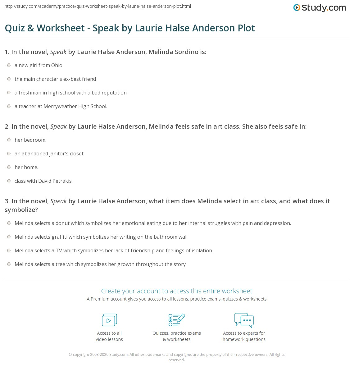 quiz amp worksheet speak by laurie halse anderson plot