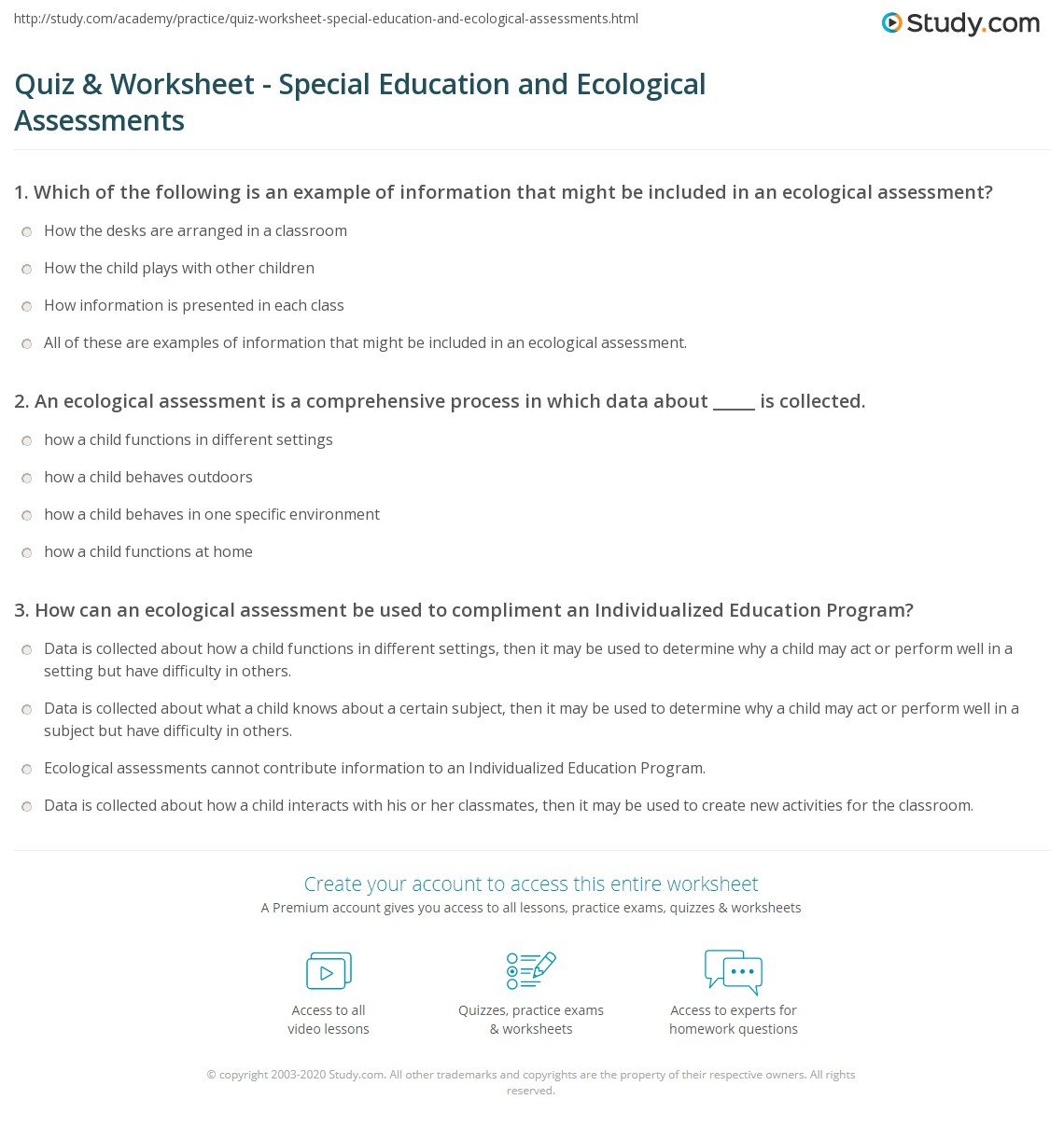 Ecosystem Worksheet For Special Ed: Quiz & Worksheet   Special Education and Ecological Assessments    ,