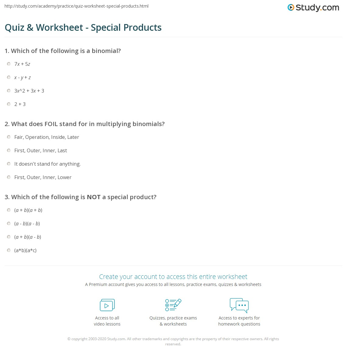 Quiz & Worksheet - Special Products | Study.com
