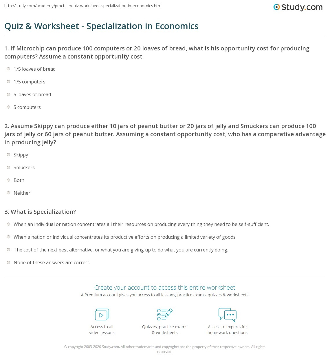 quiz worksheet specialization in economics. Black Bedroom Furniture Sets. Home Design Ideas