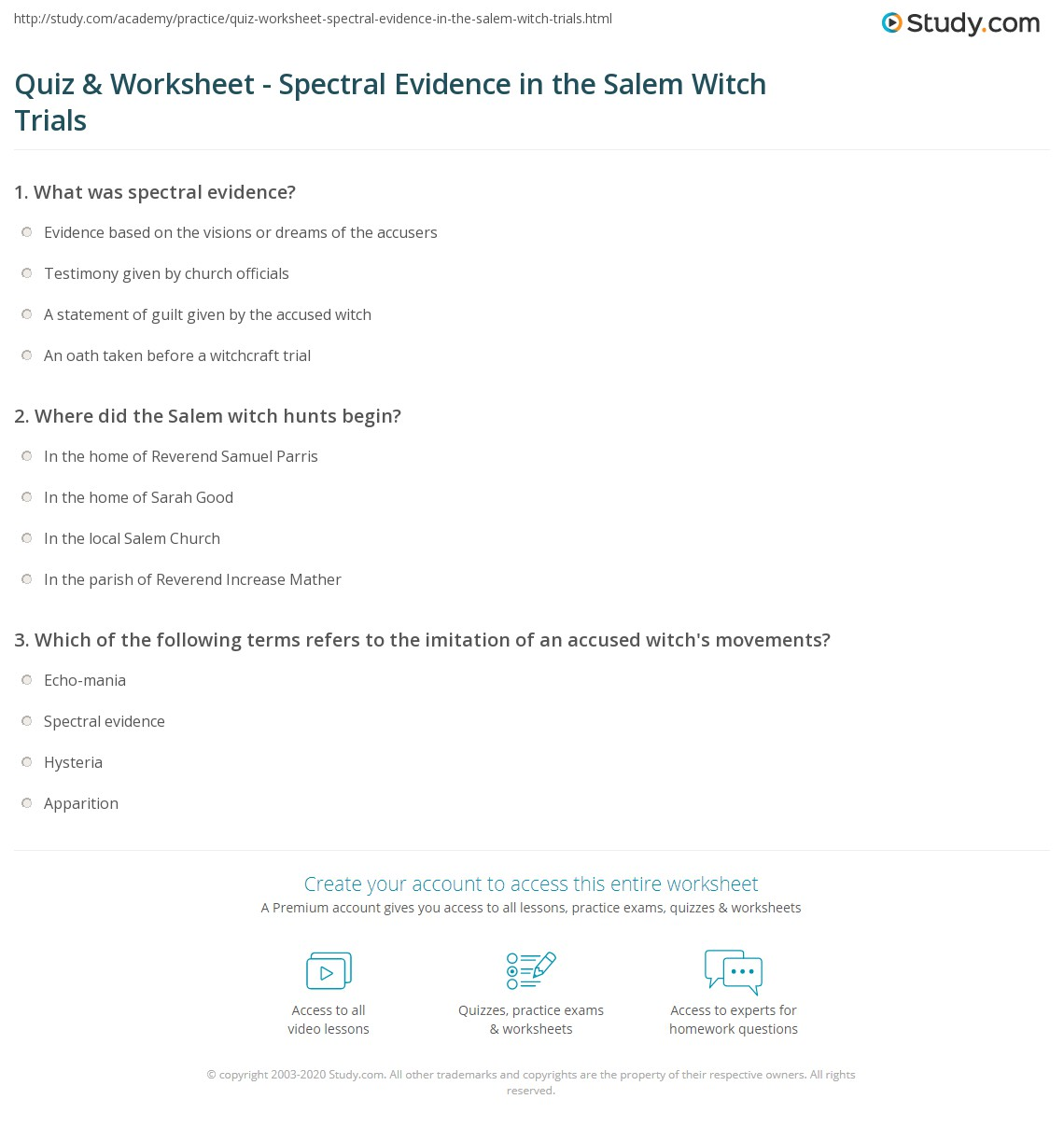 quiz worksheet spectral evidence in the salem witch trials. Black Bedroom Furniture Sets. Home Design Ideas