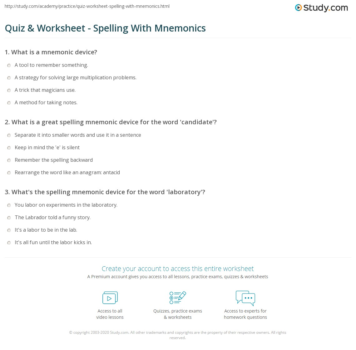 Worksheets 6th Grade Spelling Worksheets quiz worksheet spelling with mnemonics study com print using mnemonic devices to spell worksheet