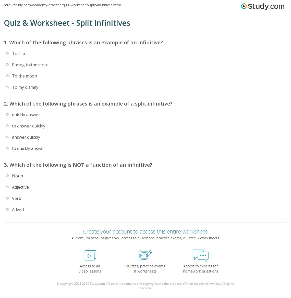 Quiz Worksheet Split Infinitives Study