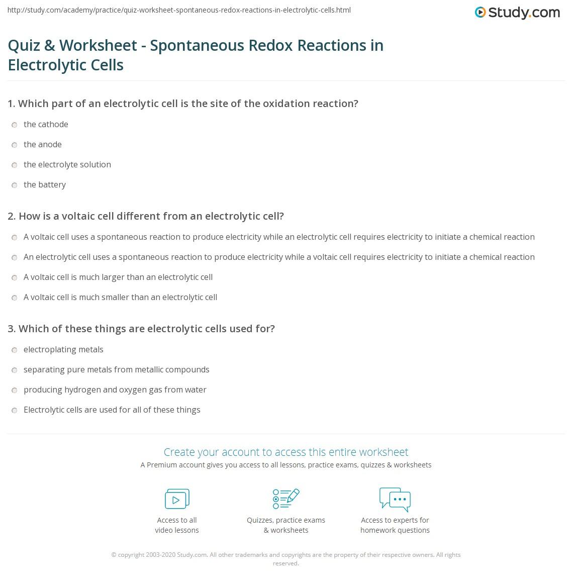 Quiz & Worksheet - Spontaneous Redox Reactions in ...