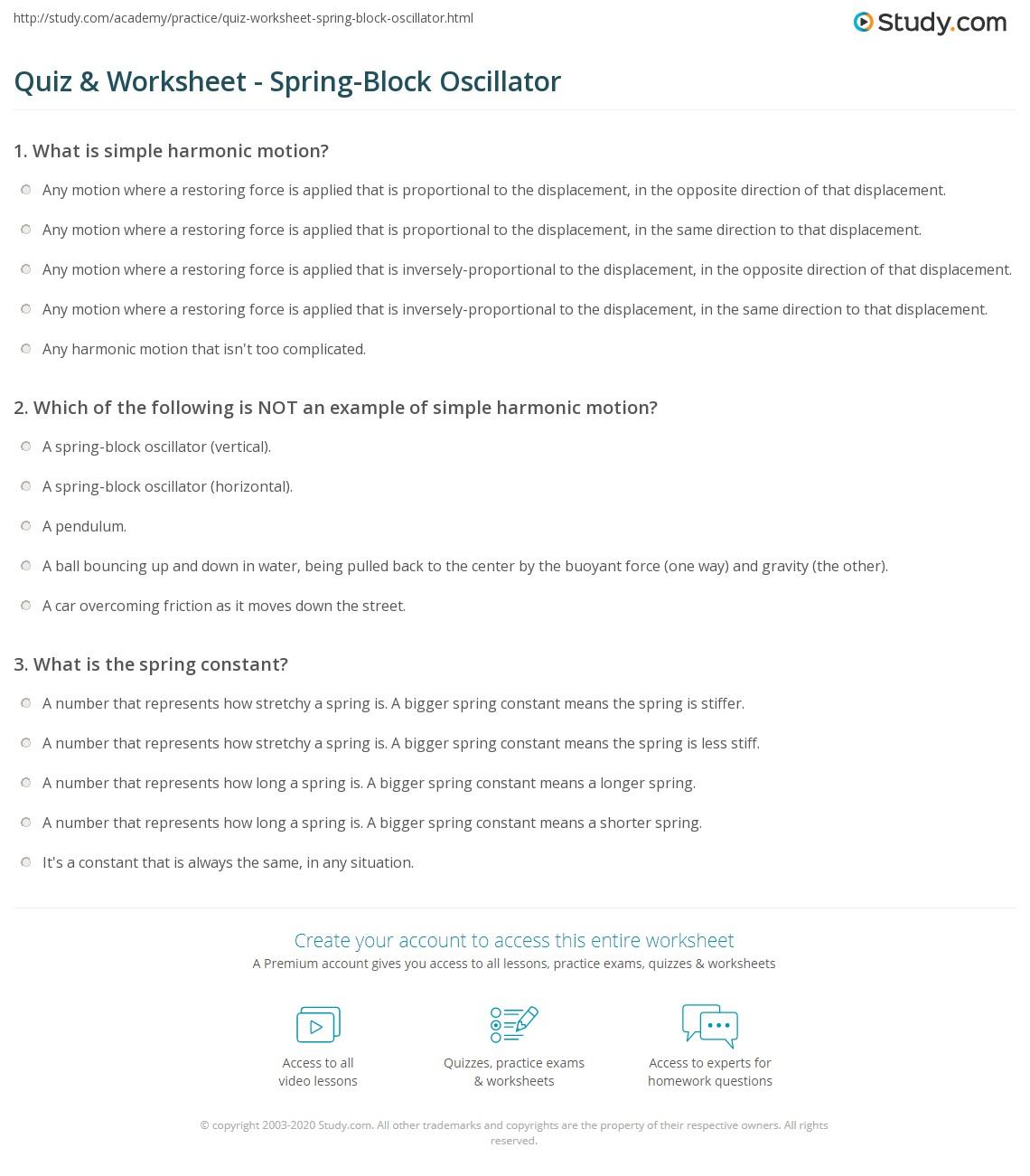 Quiz Worksheet SpringBlock Oscillator – Simple Harmonic Motion Worksheet