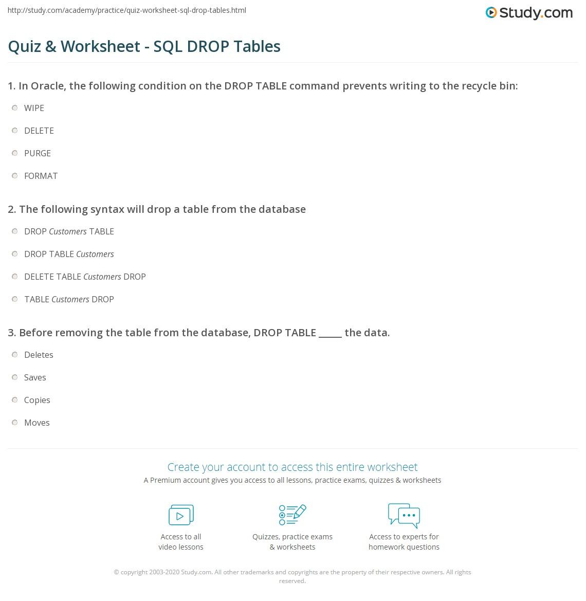 Quiz worksheet sql drop tables study print sql drop table tutorial explanation worksheet baditri Image collections