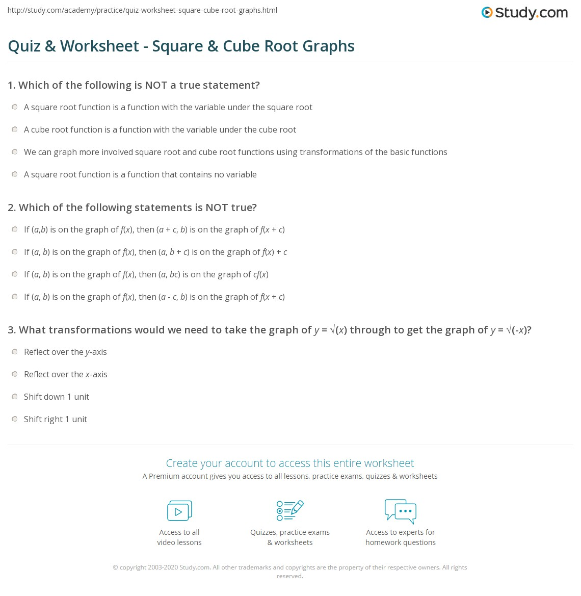 Quiz Worksheet Square Cube Root Graphs – Graphing Square Root Functions Worksheet