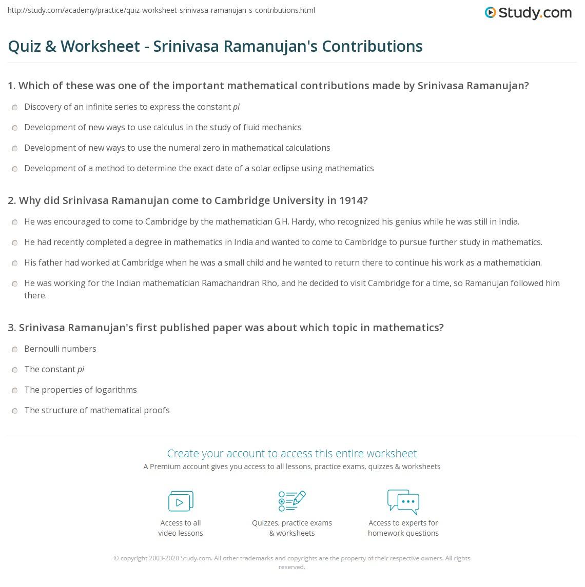 Quiz & Worksheet - Srinivasa Ramanujan's Contributions | Study com