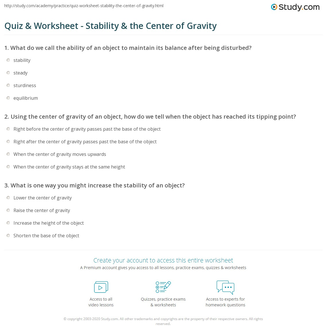 Worksheets Gravity Worksheets quiz worksheet stability the center of gravity study com print worksheet
