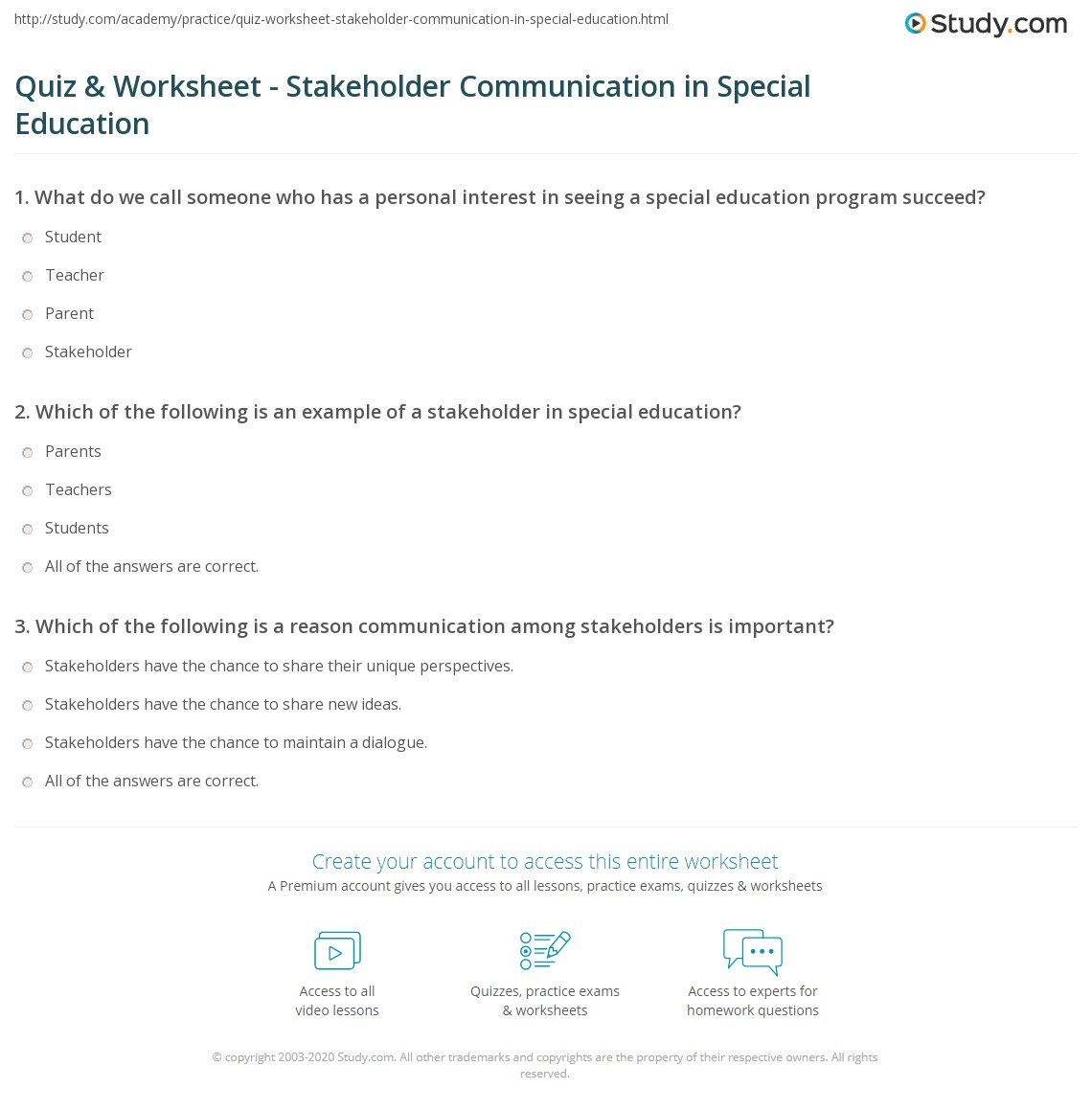 Important Special Education Rights That >> Quiz Worksheet Stakeholder Communication In Special Education