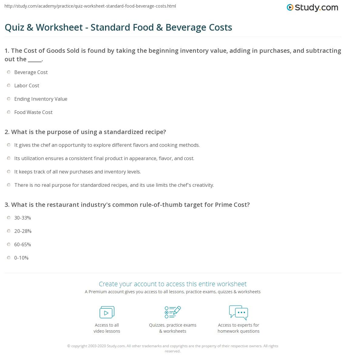 Quiz Worksheet Standard Food Beverage Costs Study Com