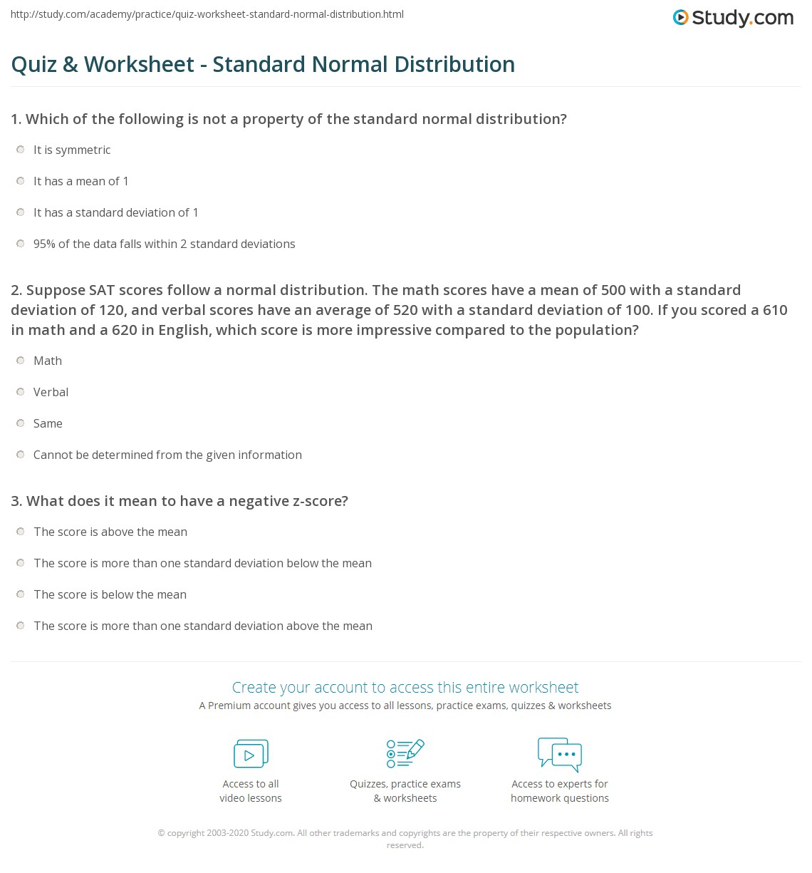 Quiz Worksheet Standard Normal Distribution Study