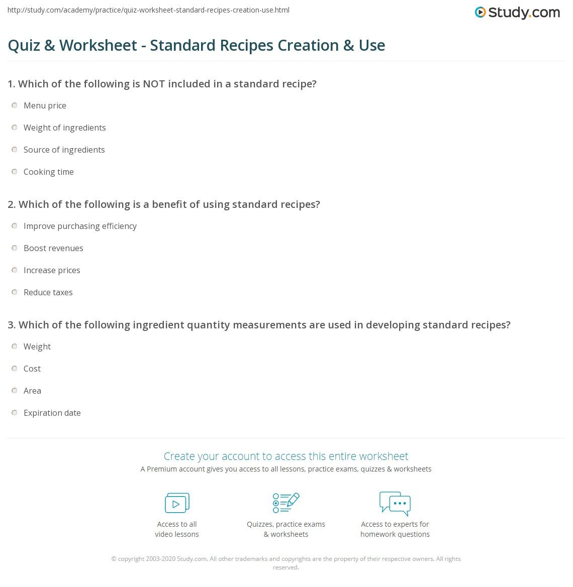 worksheet Reading A Recipe Worksheet quiz worksheet standard recipes creation use study com print development purpose worksheet