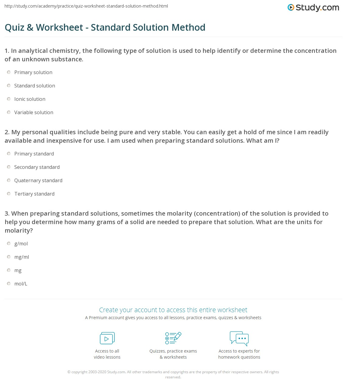 worksheet Solutions Worksheet Answers quiz worksheet standard solution method study com 1 my personal qualities include being pure and very stable you can easily get a hold of me since i am readily available inexpensive for u
