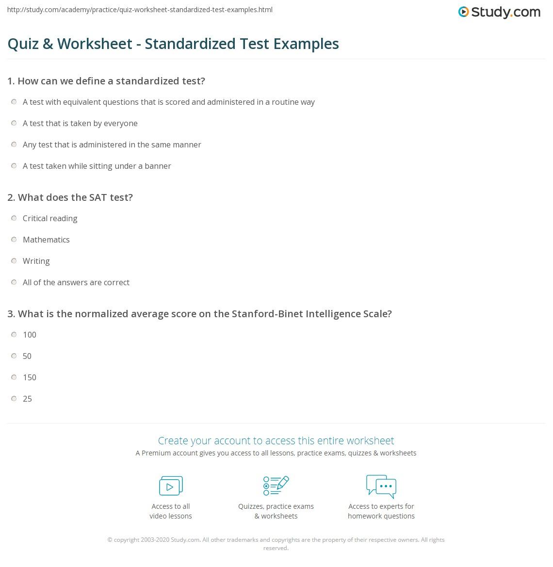 Quiz Worksheet Standardized Test Examples – Test Worksheets