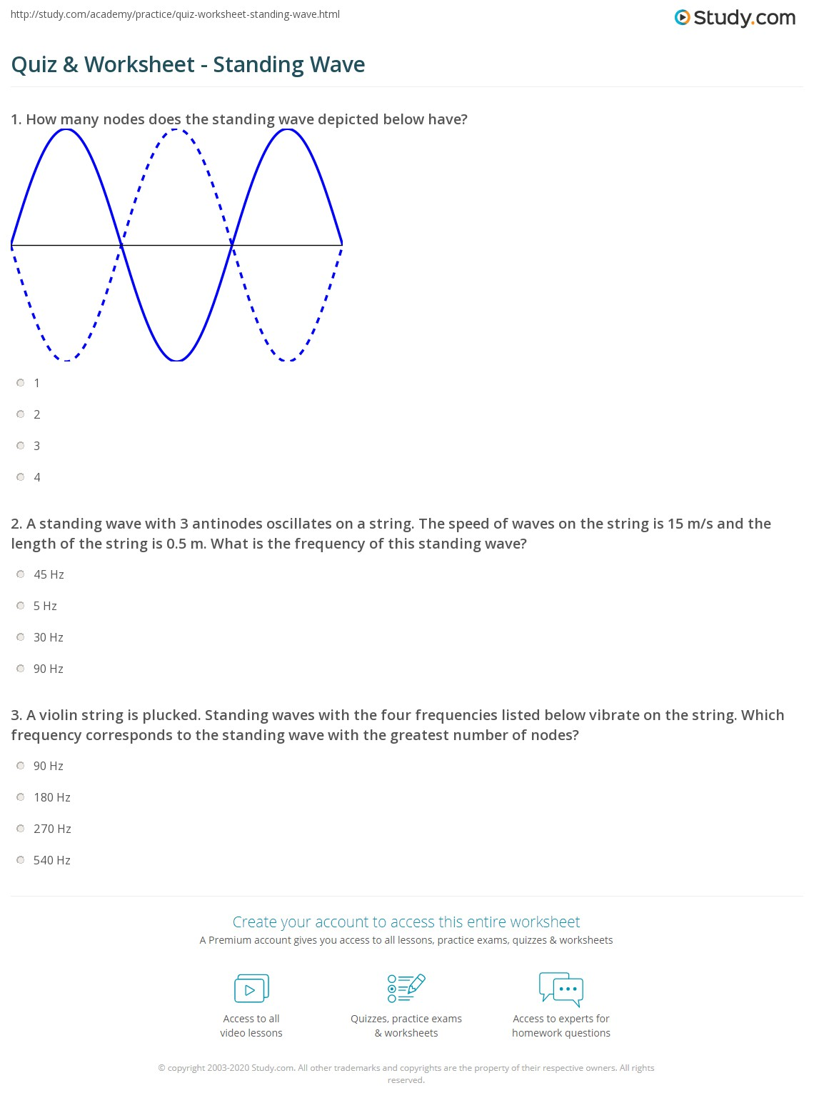 worksheet Sound Waves Worksheet quiz worksheet standing wave study com a with 3 antinodes oscillates on string the speed of waves is 15 ms and length 0 5 m