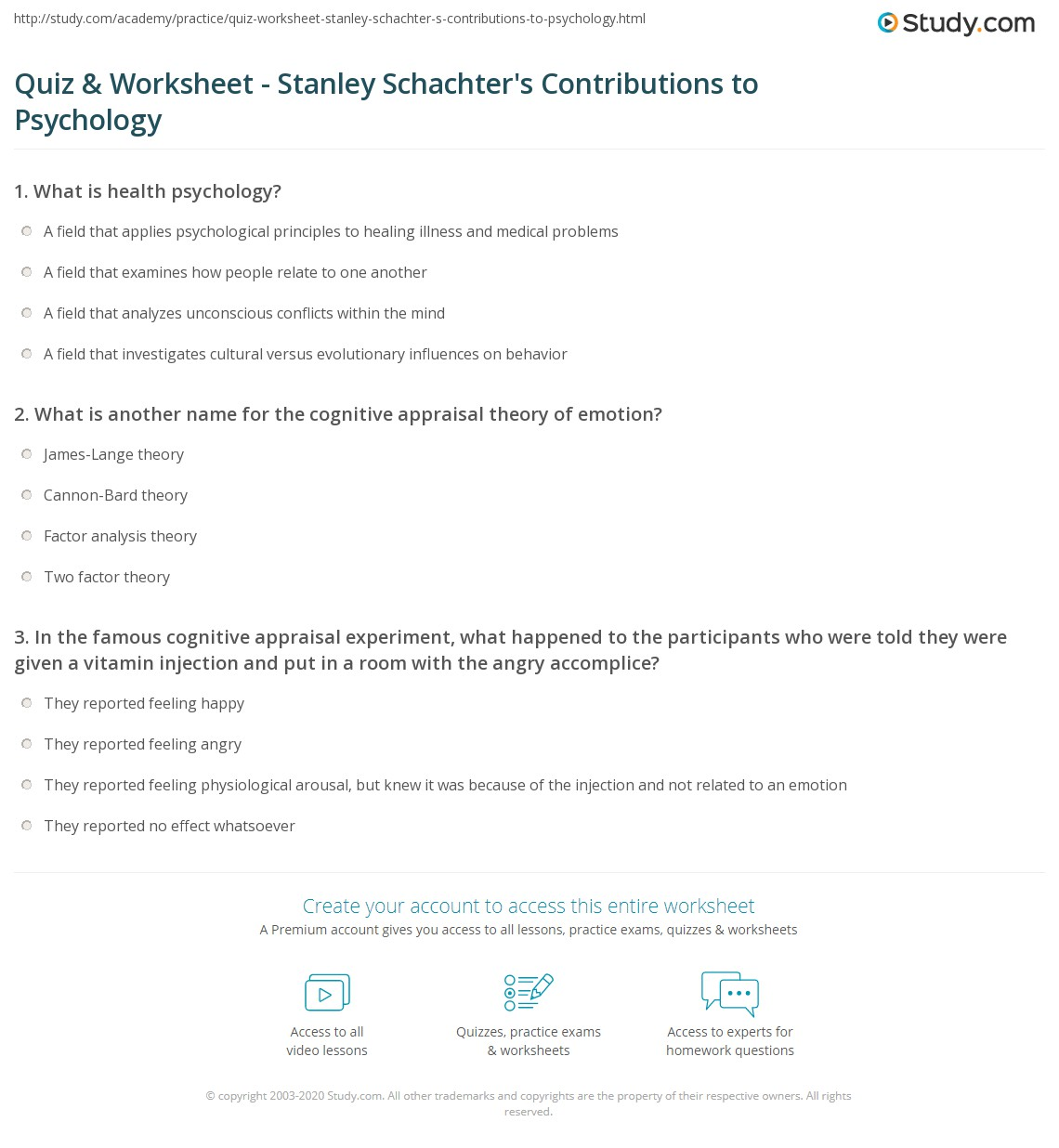 quiz & worksheet - stanley schachter's contributions to psychology