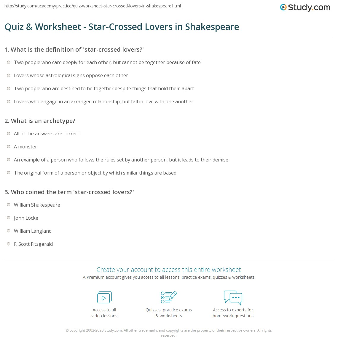 Worksheets Shakespeare Worksheets quiz worksheet star crossed lovers in shakespeare study com print definition archetype role worksheet