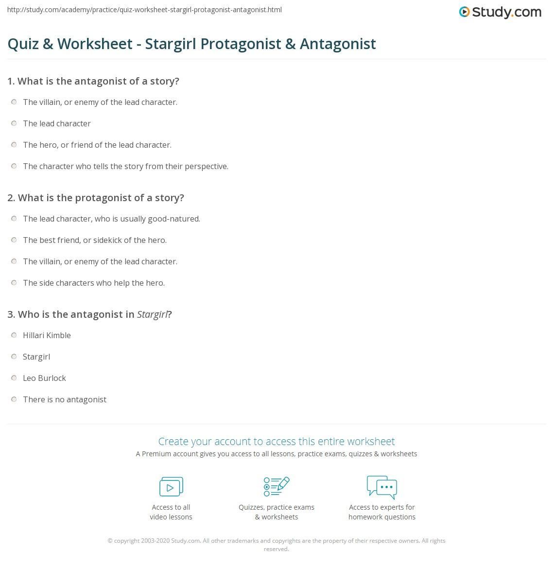 Quiz Worksheet Stargirl Protagonist Antagonist Study