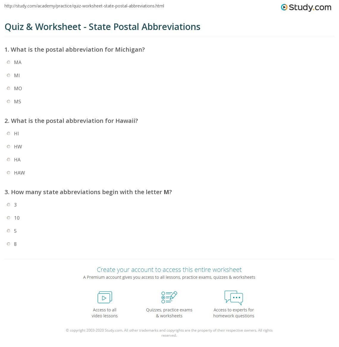 Quiz  Worksheet State Postal Abbreviations Studycom - Us zip code abbreviations