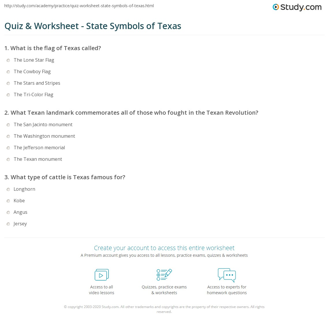 Quiz Worksheet State Symbols Of Texas Study