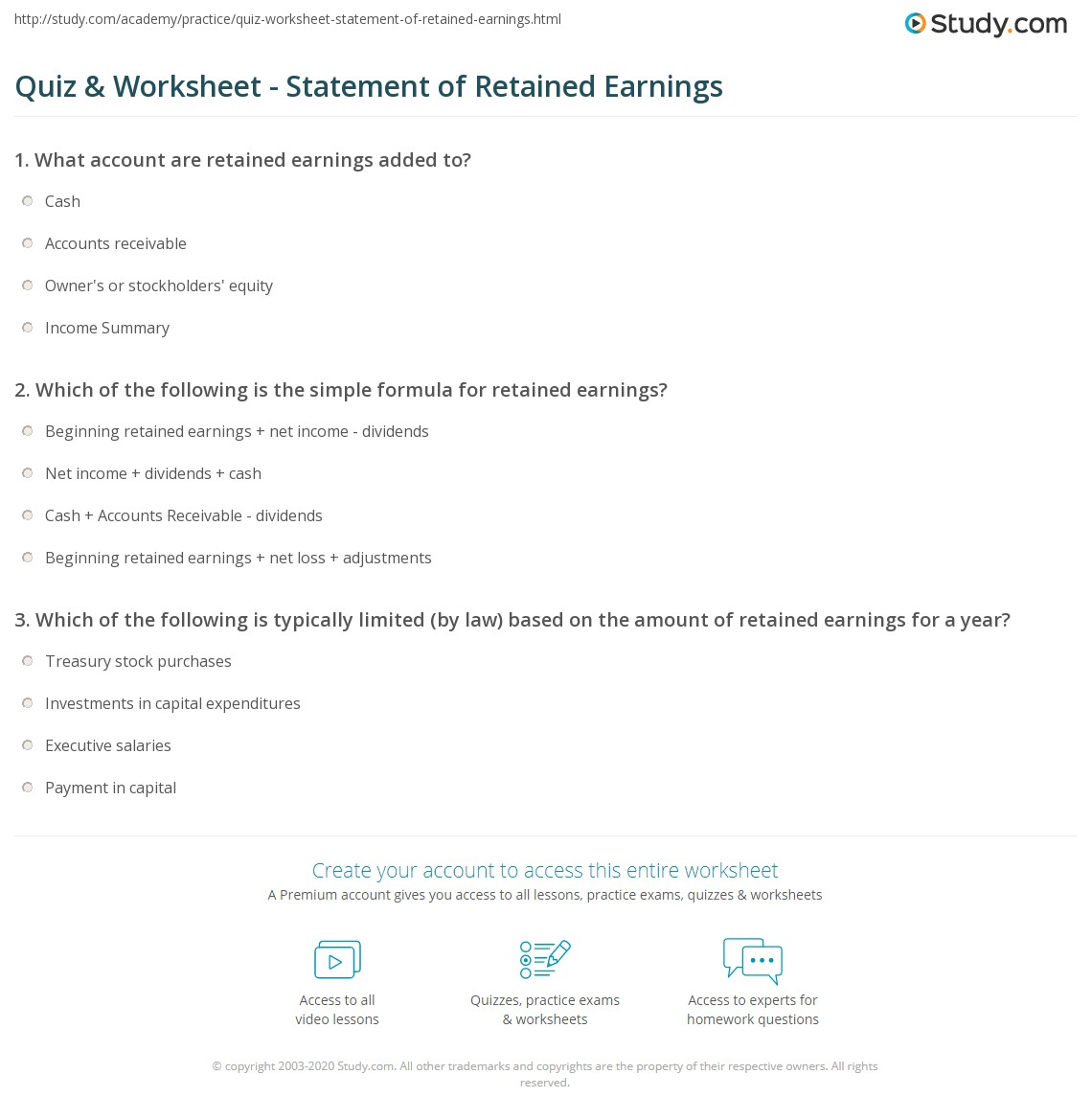 quiz worksheet statement of retained earnings. Black Bedroom Furniture Sets. Home Design Ideas