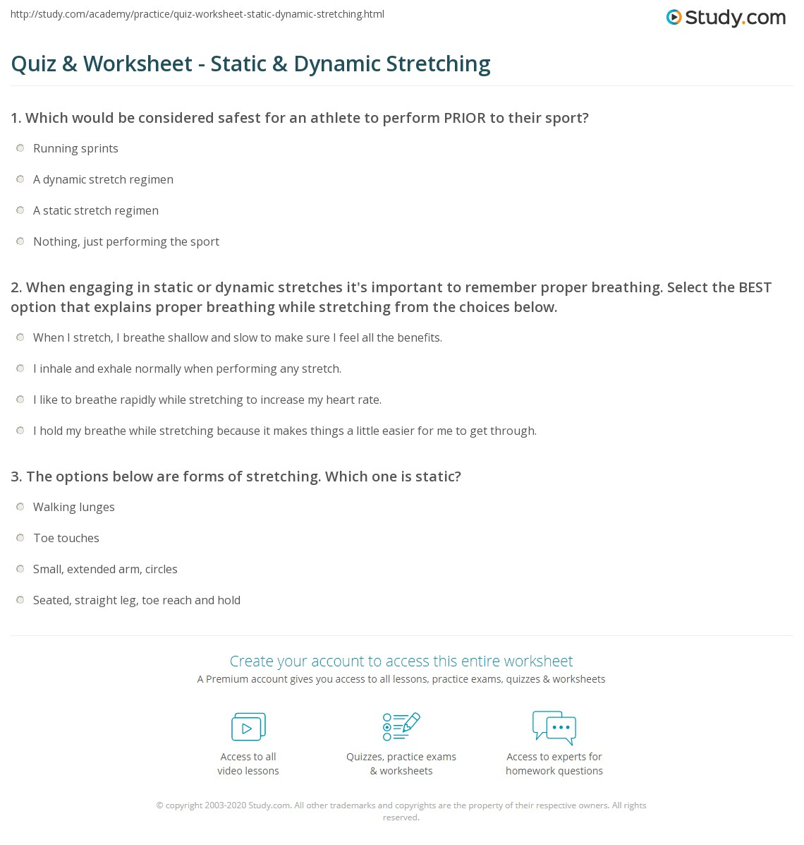 Quiz & Worksheet - Static & Dynamic Stretching | Study.com