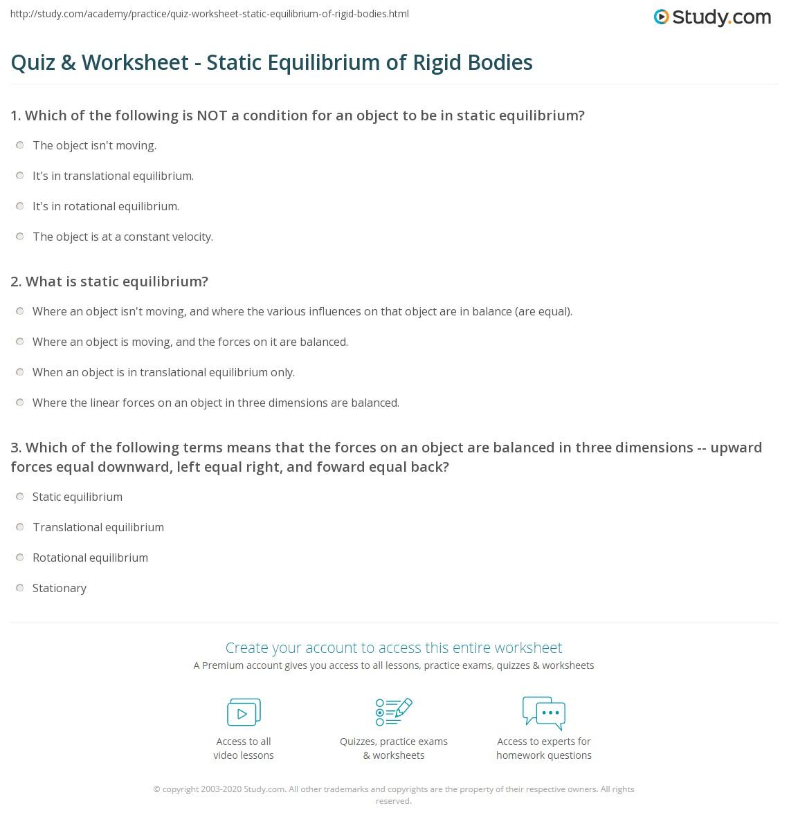 Print Static Equilibrium of Rigid Bodies Worksheet