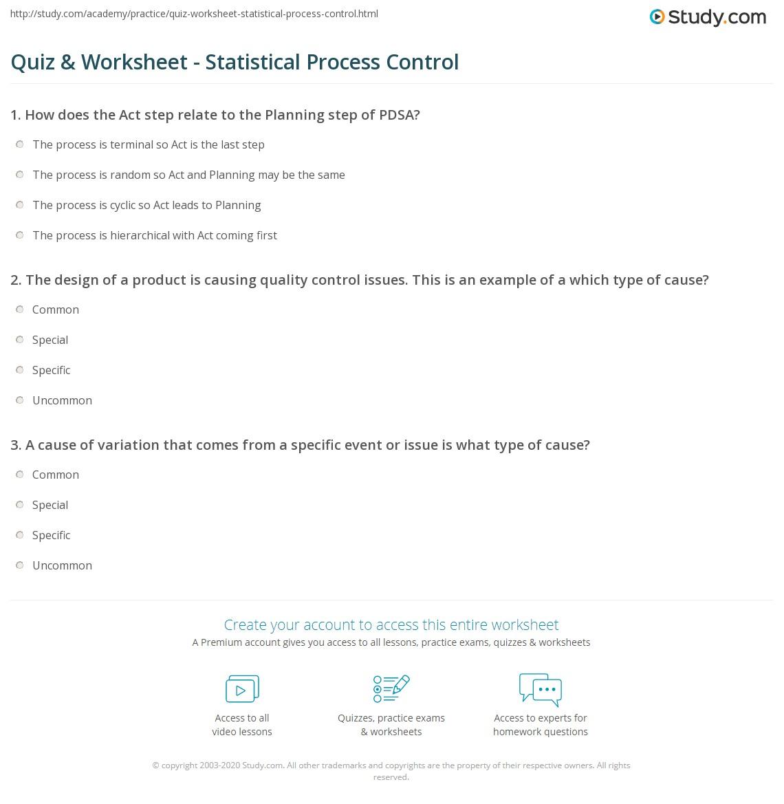 Quiz & Worksheet - Statistical Process Control | Study.com
