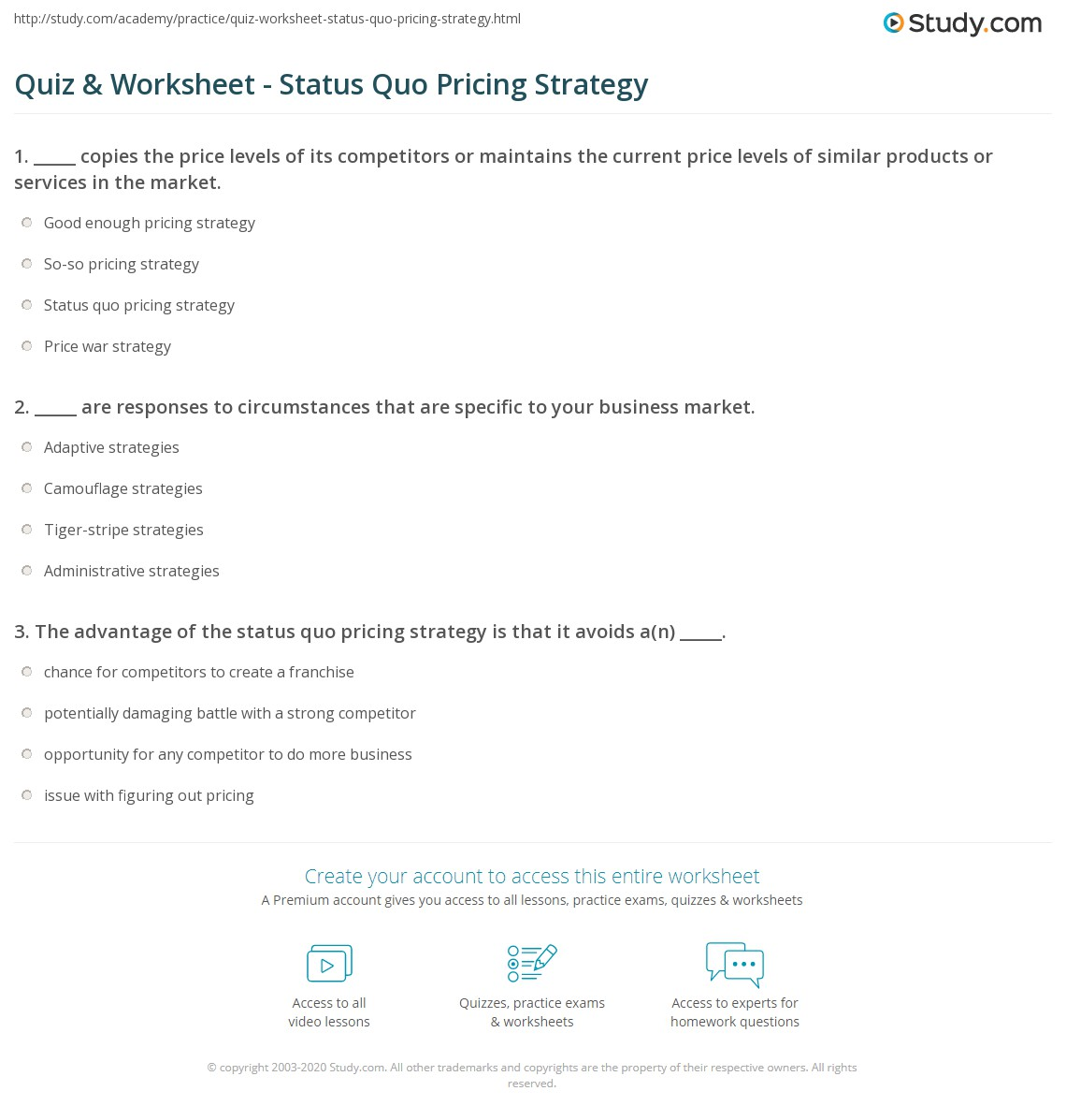 Pricing Strategy: Quiz & Worksheet - Status Quo Pricing Strategy