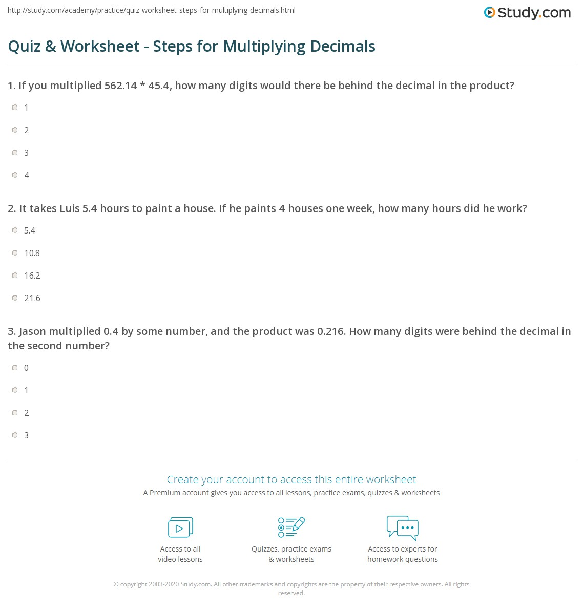 Multiplying Decimals Steps