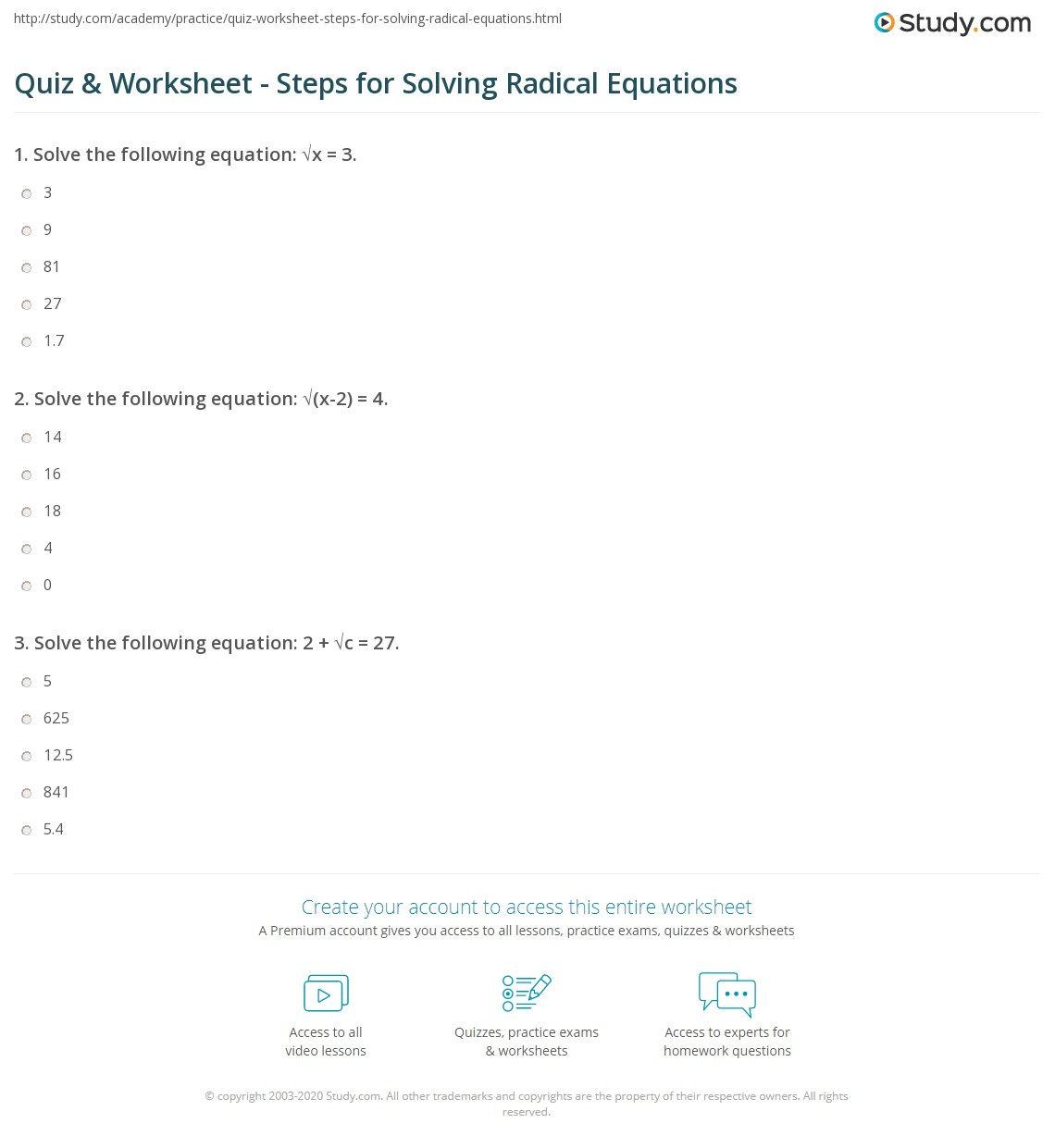Worksheets Radical Equations Worksheet quiz worksheet steps for solving radical equations study com print and examples worksheet