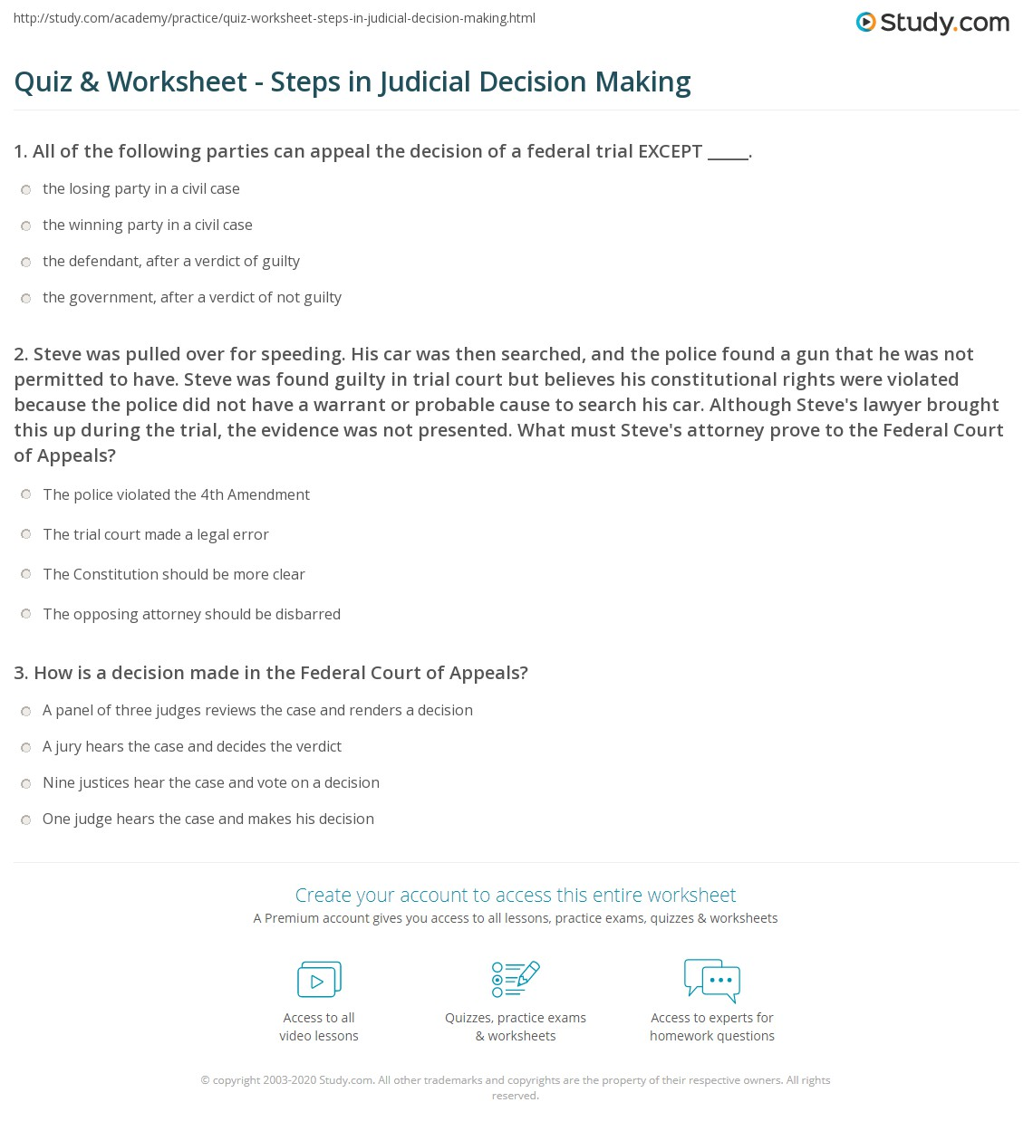 New Federal Court Decision Should Be >> Quiz Worksheet Steps In Judicial Decision Making Study Com