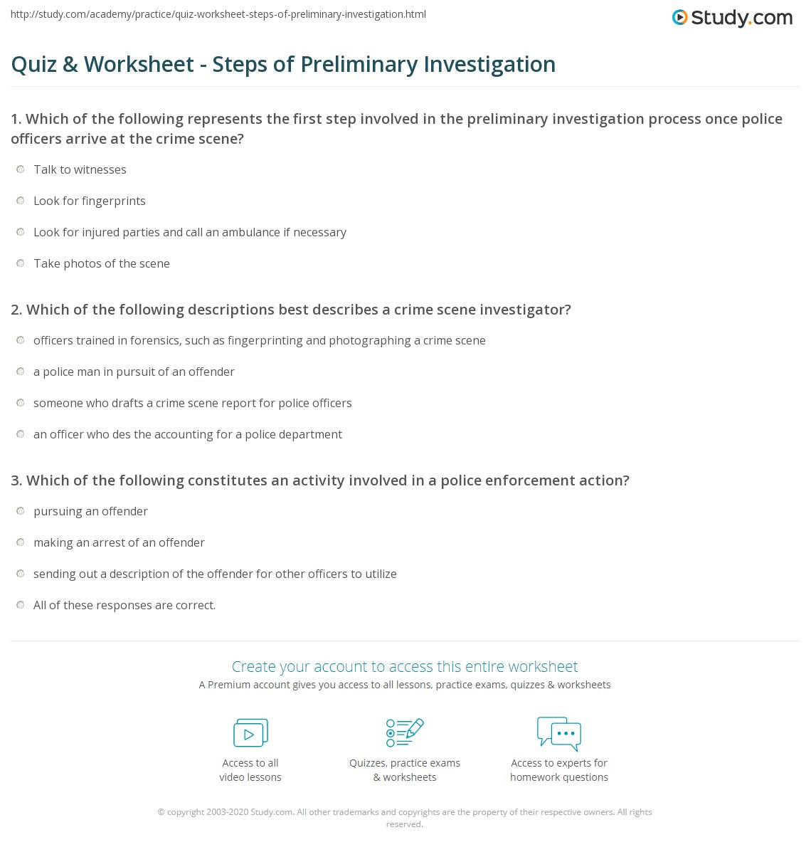 Quiz Worksheet Steps Of Preliminary Investigation Study