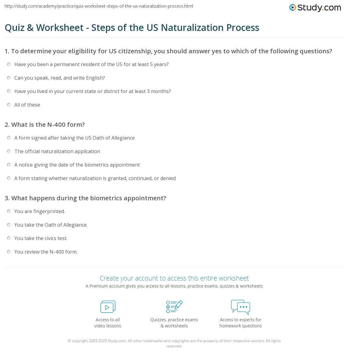 Quiz worksheet steps of the us naturalization process study what is the n 400 form falaconquin