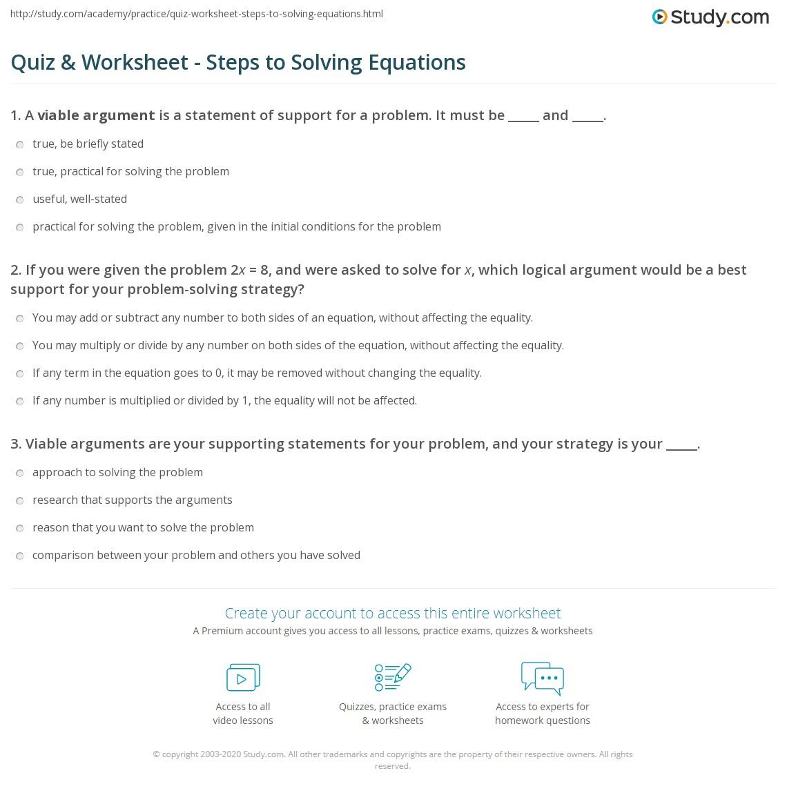 solving equations practice worksheet tessshebaylo. Black Bedroom Furniture Sets. Home Design Ideas