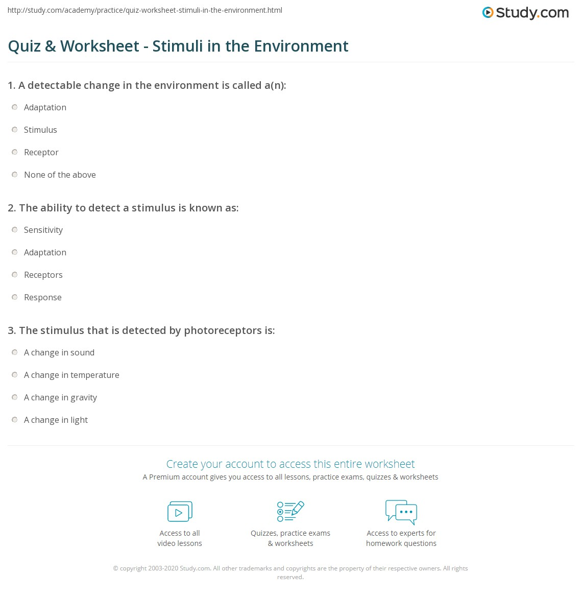 Quiz & Worksheet - Stimuli in the Environment   Study.com