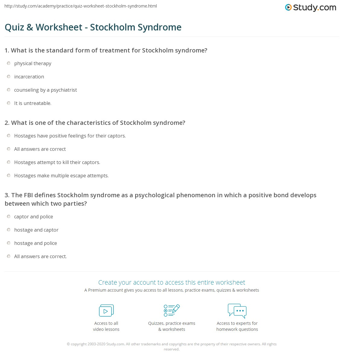 Quiz worksheet stockholm syndrome study what is one of the characteristics of stockholm syndrome falaconquin