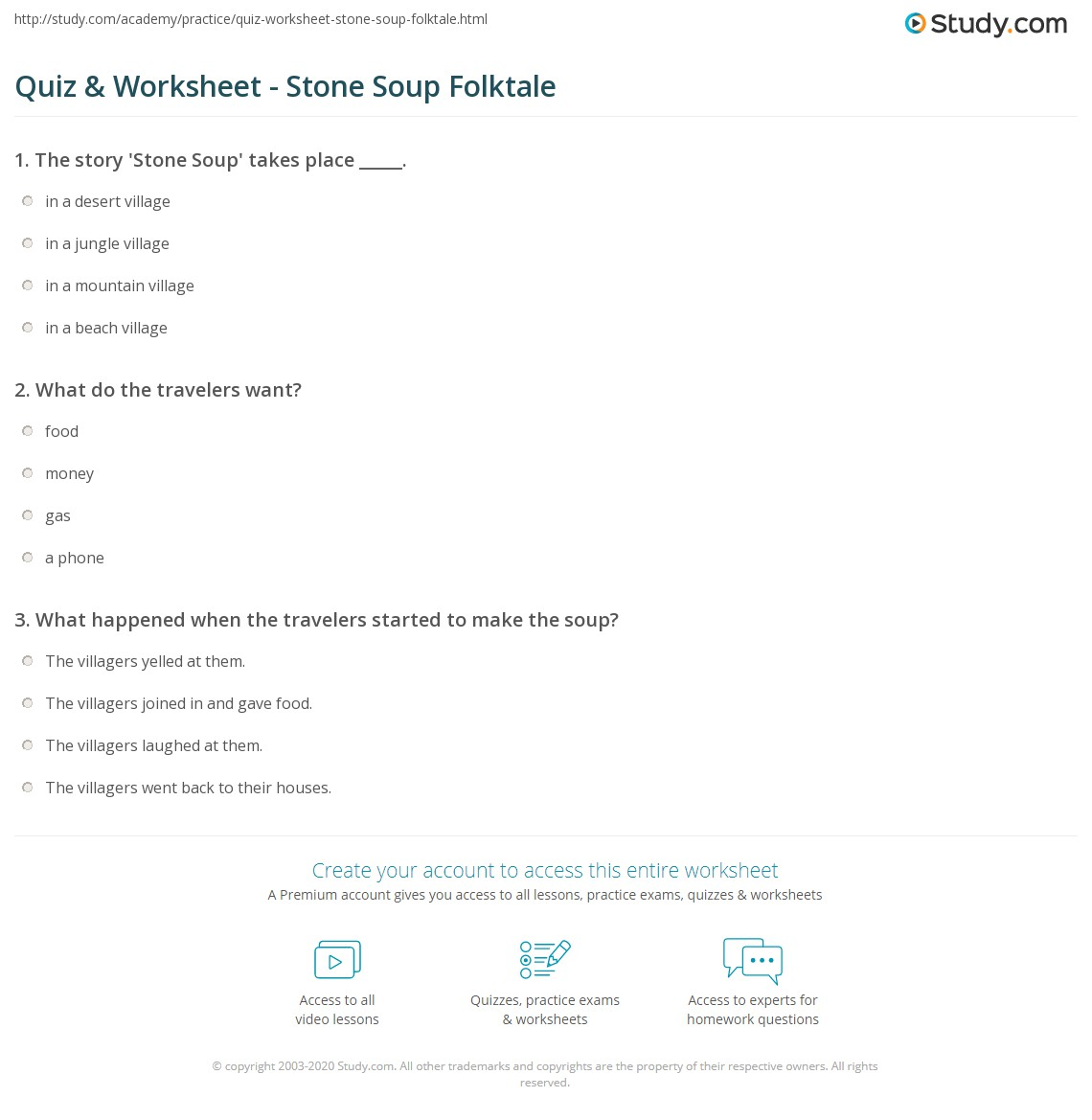 image relating to Stone Soup Story Printable named Quiz Worksheet - Stone Soup Folktale
