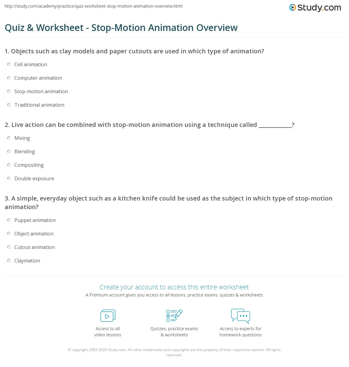 Quiz & Worksheet - Stop-Motion Animation Overview | Study.com
