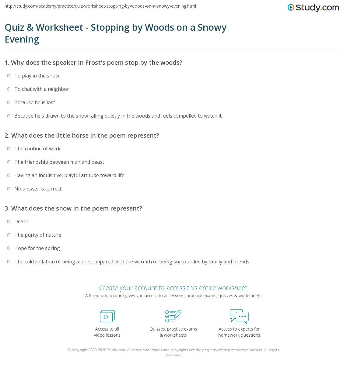 Quiz  Worksheet  Stopping By Woods On A Snowy Evening  Studycom Print Stopping By Woods On A Snowy Evening Summary Theme  Analysis  Worksheet