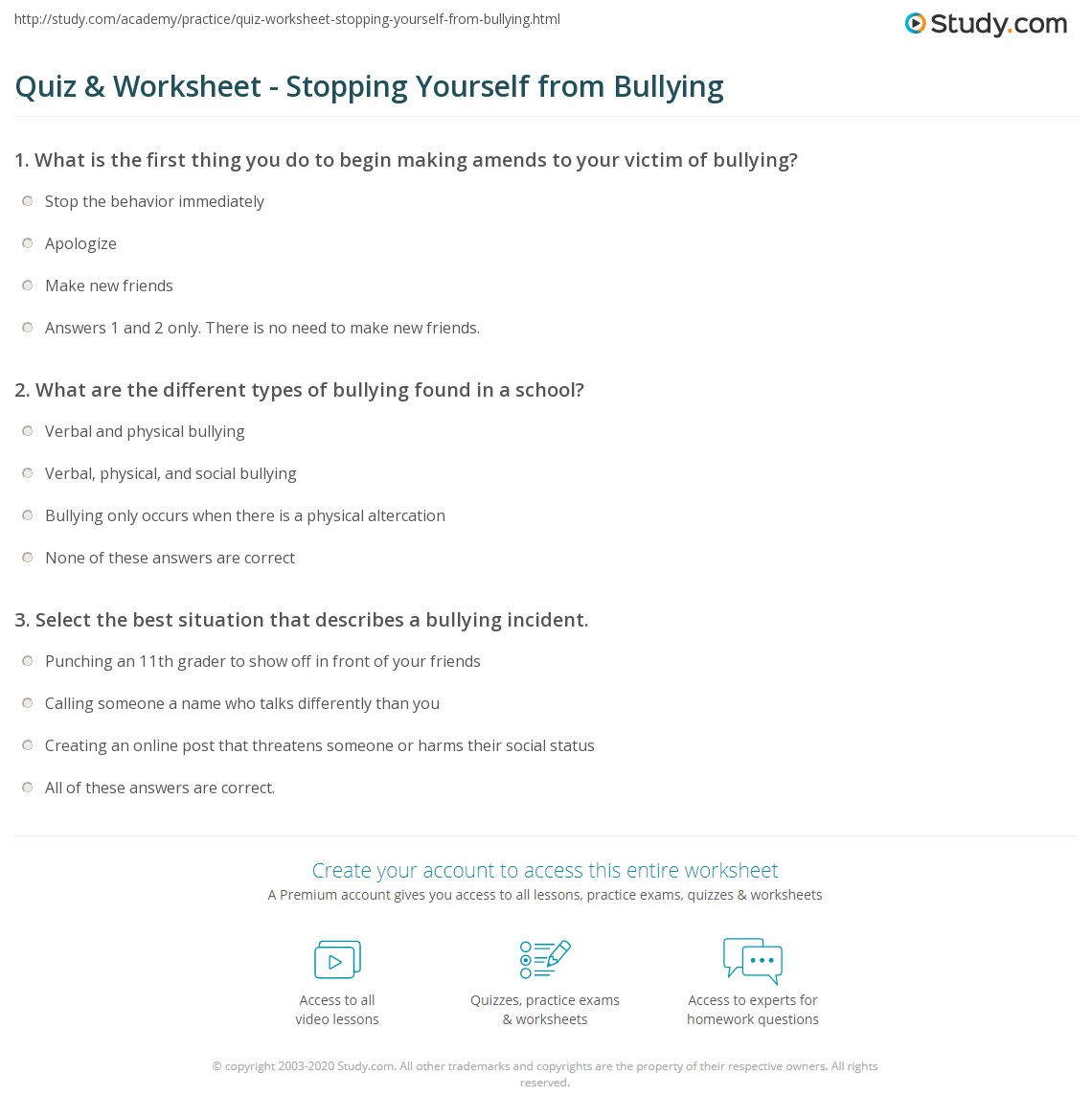 Quiz & Worksheet Stopping Yourself from Bullying