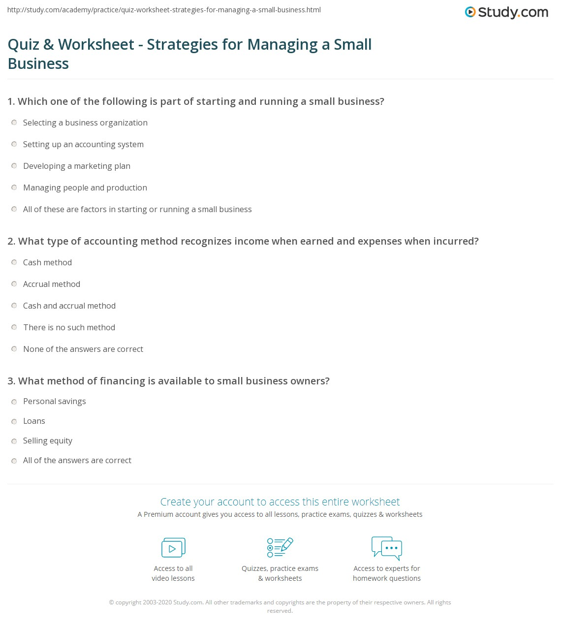 quiz worksheet strategies for managing a small business study com